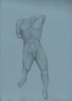 "Selfportrait ""no hand, no head"" grafito HB2, crokis hoja doble hilado"
